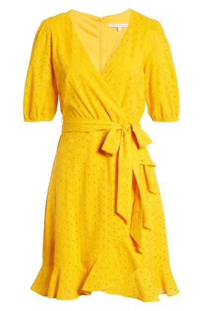Julia Jordan Balloon Sleeve Cotton Eyelet Faux Wrap Dress In Marigold