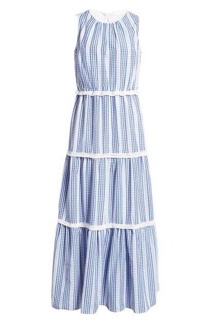 Julia Jordan Gingham Stripe Tiered Maxi Dress In Blue/ Ivory