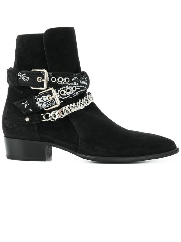 Amiri Embellished Suede Jodhpur Boots In Black