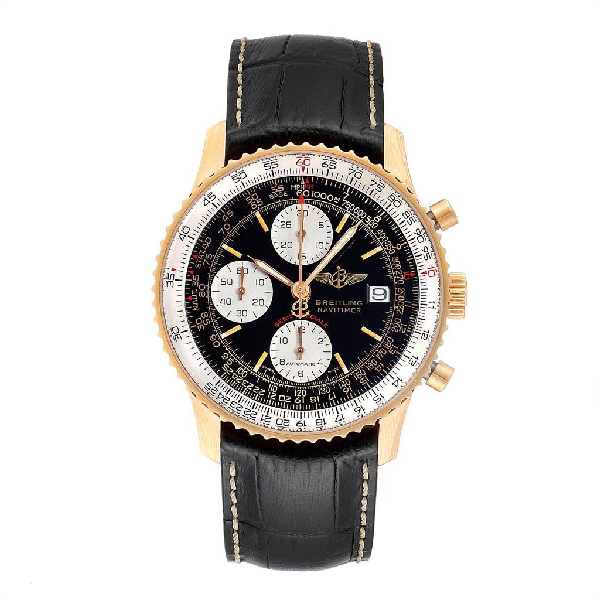 Breitling Navitimer Fighter Yellow Gold Limited Edition Mens Watch H13330 In Black