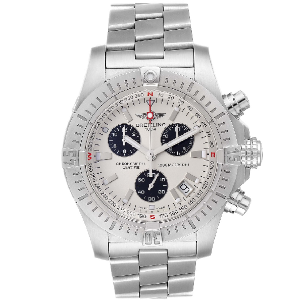 Breitling Avenger Seawolf Silver Dial Mens Watch A73390 Box Papers In White