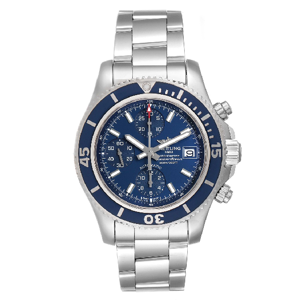 Breitling Superocean Chronograph Blue Dial Mens Watch A13311 Box Papers In White