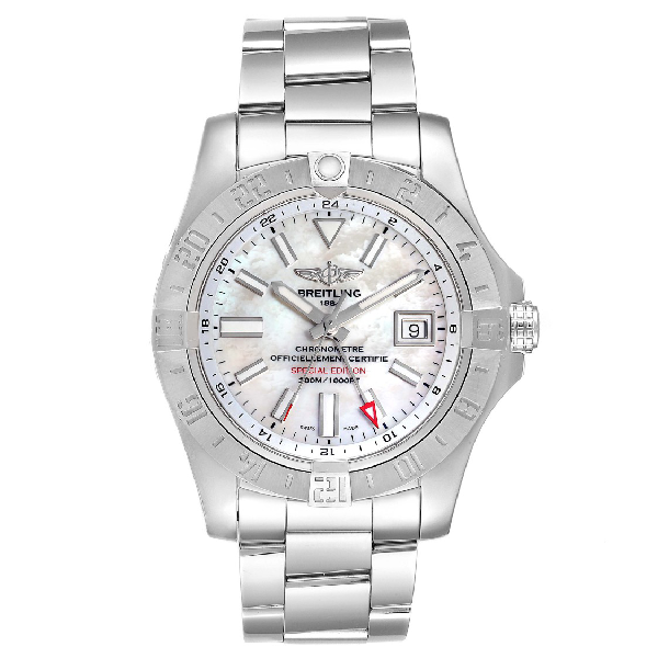 Breitling Aeromarine Avenger Ii Gmt Mop Dial Watch A32390 Box Papers In White