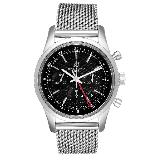 Breitling Transocean 43mm Silver Dial Steel Mens Watch Ab0451 Box Papers In Metallic