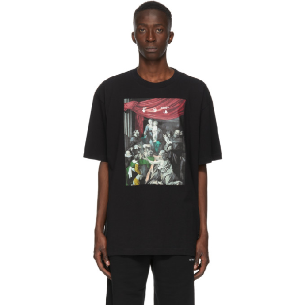 Off-white Caravag Painting Short Sleeve Oversized Shirt In Black
