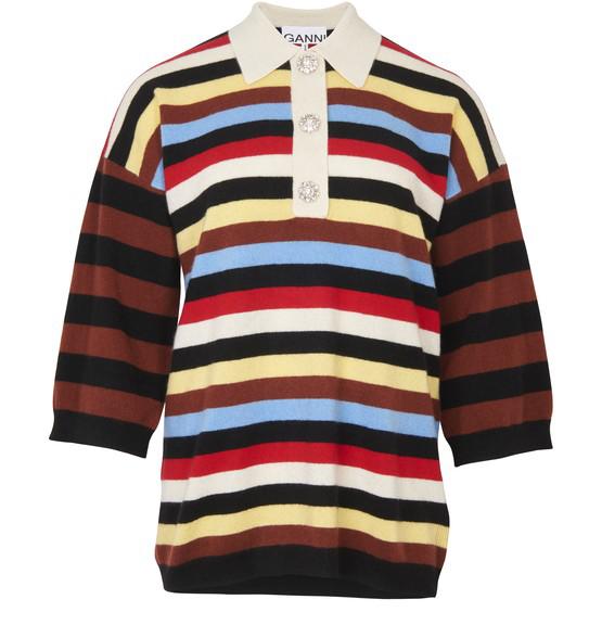 Ganni Crystal-embellished Striped Cashmere Rugby Shirt In Black