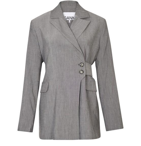 Ganni Belted Heathered-sharkskin Suit Jacket In Grey