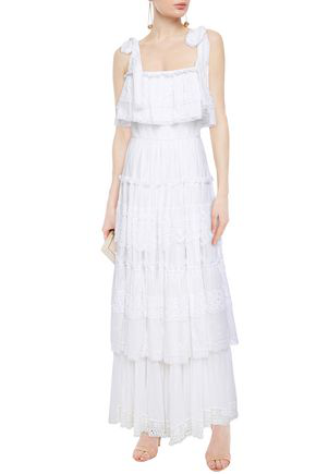 Dolce & Gabbana Tiered Crochet-trimmed Shirred Cotton-blend Voile Maxi Dress In White