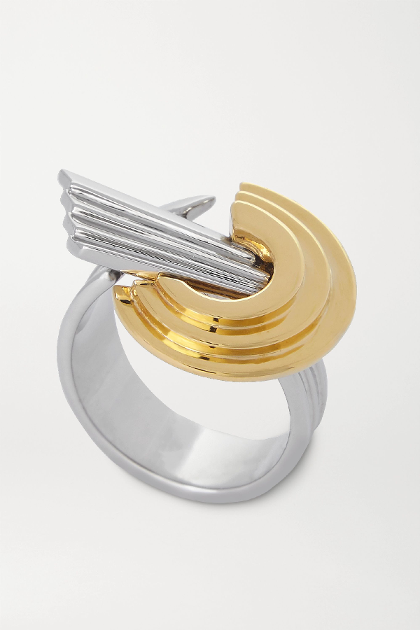 Leda Madera Meryl Palladium-plated And Gold-plated Ring In Silver