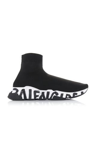 Balenciaga Speed Logo-print Stretch-knit High-top Sneakers In Black/white