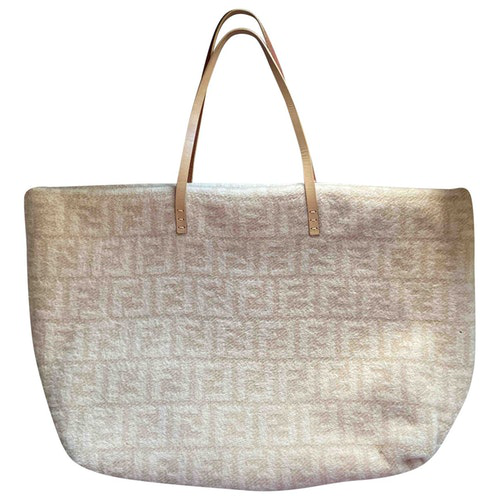 Fendi Roll Bag  Beige Wool Handbag