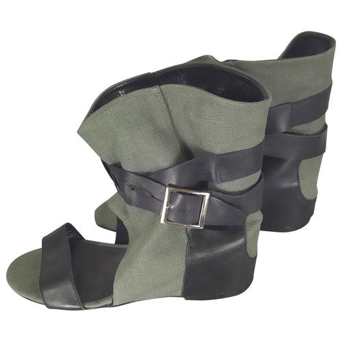 American Retro Khaki Cloth Ankle Boots