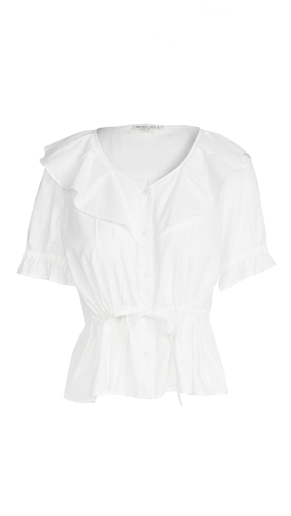 Alex Mill Ruffle Neck Blouse In White