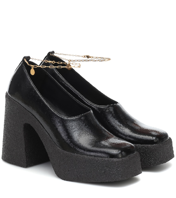 Stella Mccartney Ankle-chain Patent Faux-leather Platform Pumps In Black