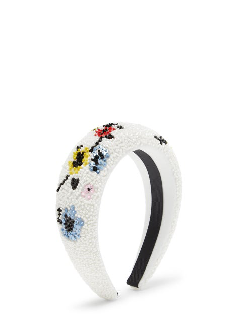 Ganni Floral Beaded Padded Headband In White