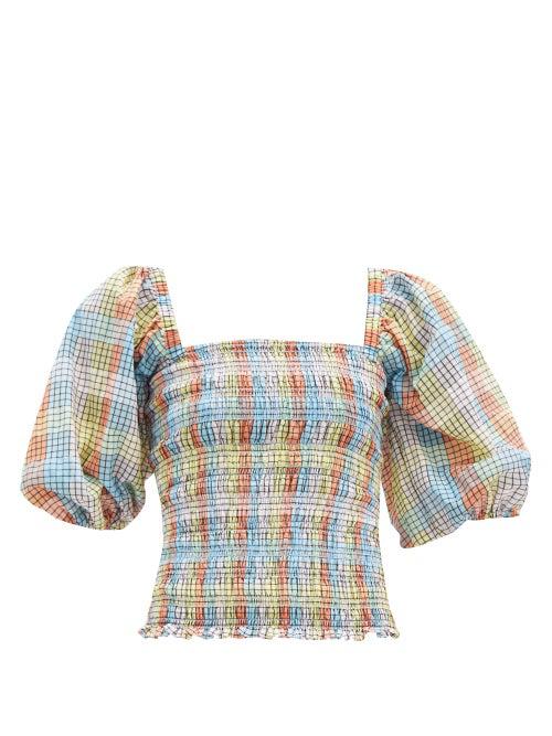 Ganni Balloon-sleeve Checked Cotton-blend Seersucker Top In Blue