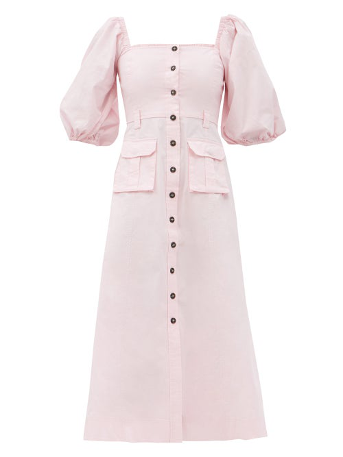 Ganni Ripstop Cotton Chino Dress In Cherry Blossom In Baby Pink