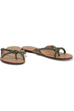 The Row Hawaii Knotted Suede Sandals In Sage Green