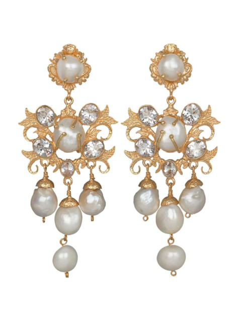 Christie Nicolaides Ariadne Earrings Gold/crystal In White