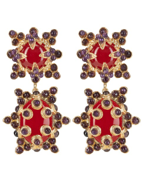 Christie Nicolaides Lucia Earrings Red & Amethyst