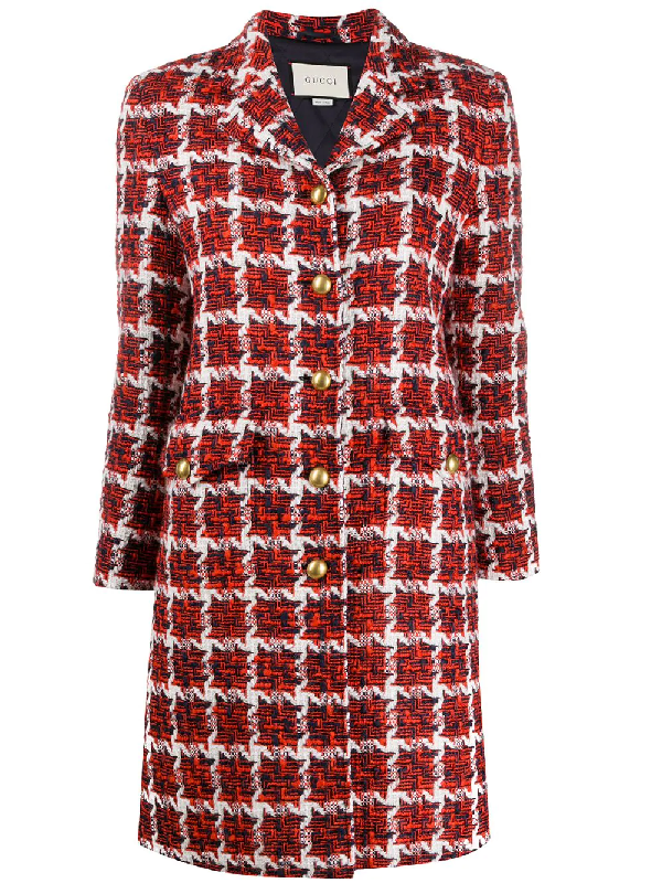 Gucci Single-breasted Tweed Coat In Red