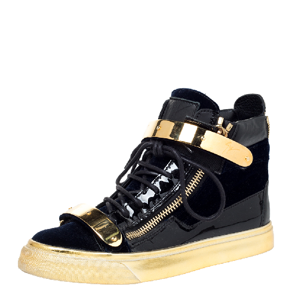 Giuseppe Zanotti Blue/gold Velvet And Leather Coby High Top Sneakers Size 37