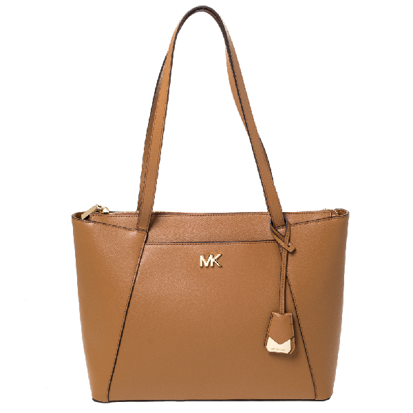 Michael Kors Tan Leather Maddie East/west Top Zip Tote