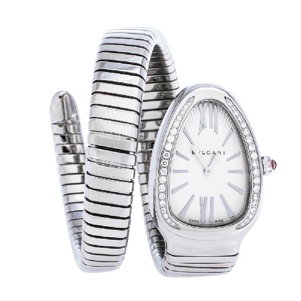 Bvlgari Silver Opaline GuillochÉ Soleil Stainless Steel Diamond Serpenti Tubogas 101910 Women's Wristwatch 3