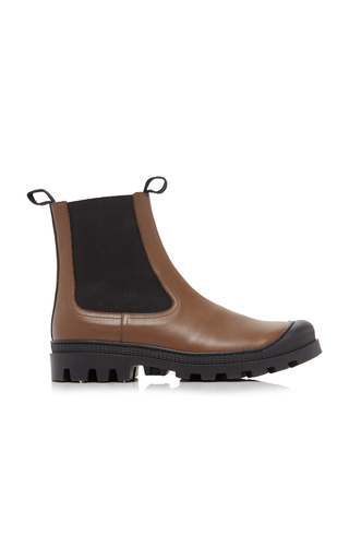 Loewe Rubber-paneled Leather Chelsea Boots In Brown