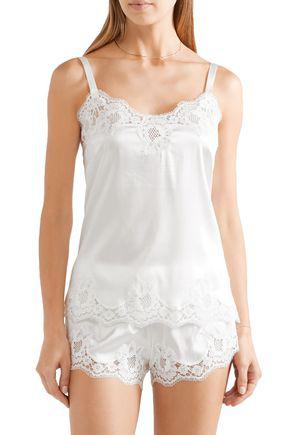 Dolce & Gabbana Lace-trimmed Silk-blend Satin Camisole In White