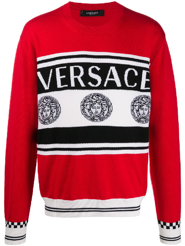 Versace Medusa Logo Intarsia Wool Knit Sweater In Red