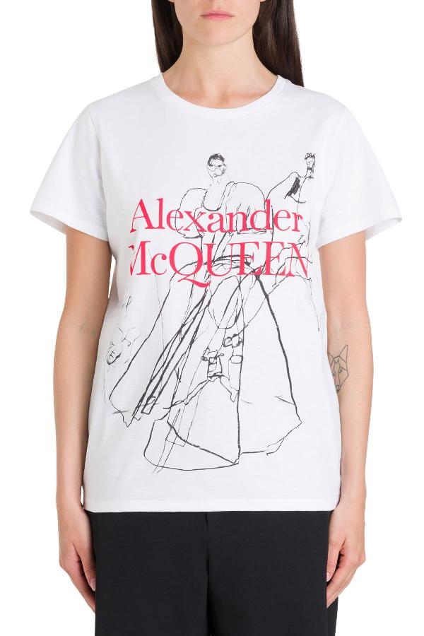 Alexander Mcqueen Dancing Girls Tee In Bianco