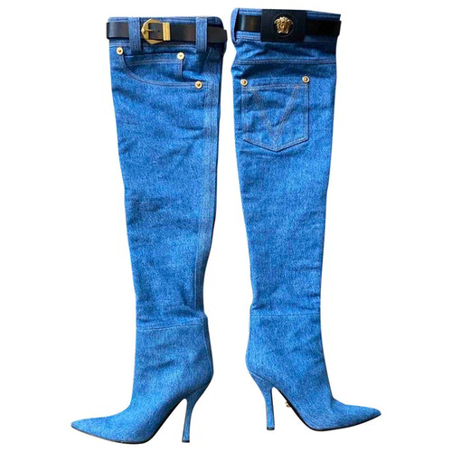 Versace Blue Cloth Boots