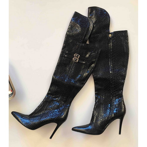 Versace Black Crocodile Boots