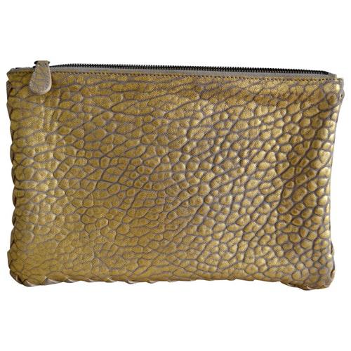 Bottega Veneta Gold Leather Clutch Bag