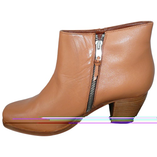 American Retro Brown Leather Ankle Boots