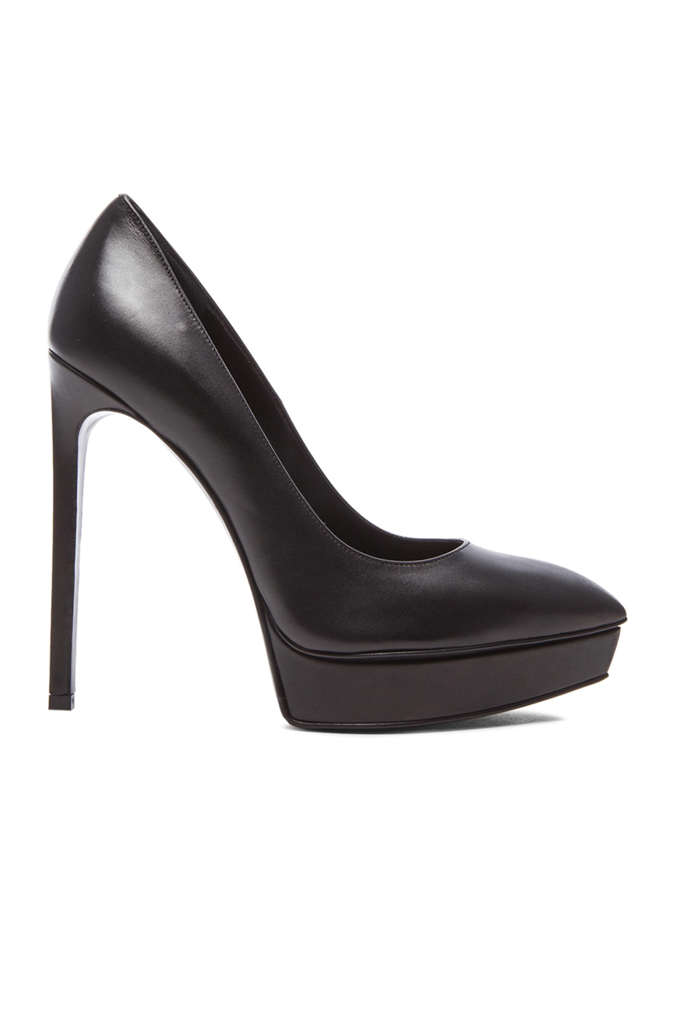 Saint Laurent 130mm Janis Tumbled Leather Pumps, Black