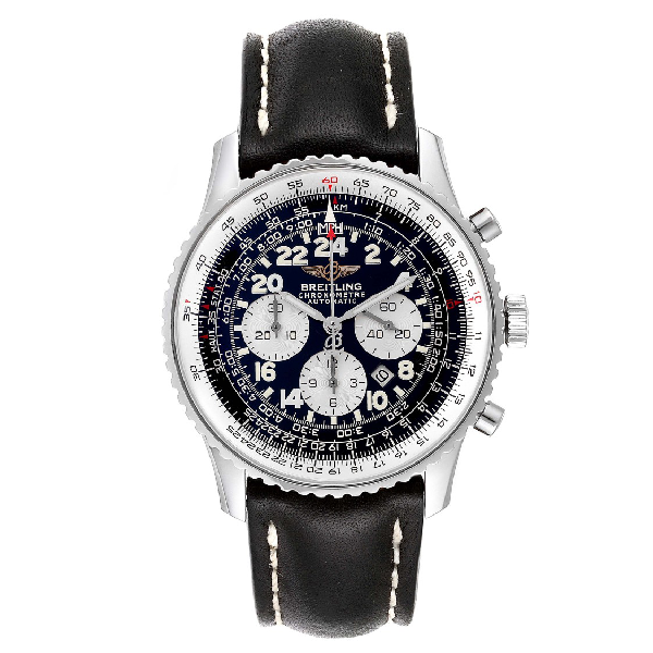 Breitling Navitimer Cosmonaute Black Dial Steel Mens Watch A22322
