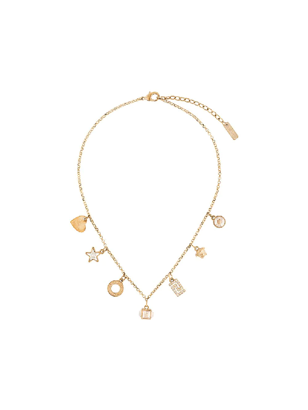 Versace Multi Charm Necklace In Gold