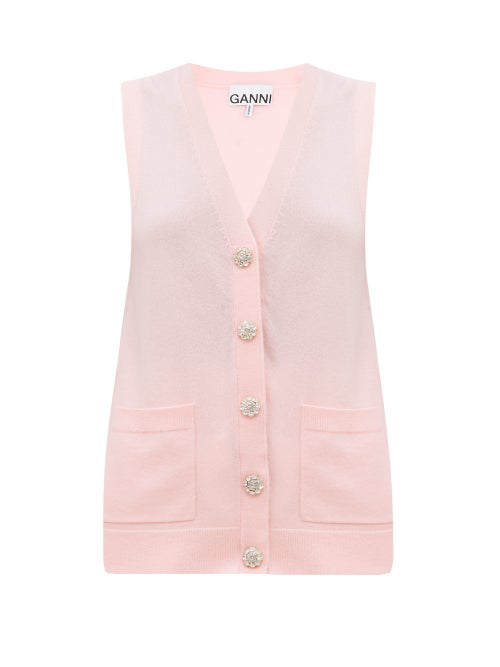 Ganni Crystal-button Sleeveless Cashmere Cardigan In Pink