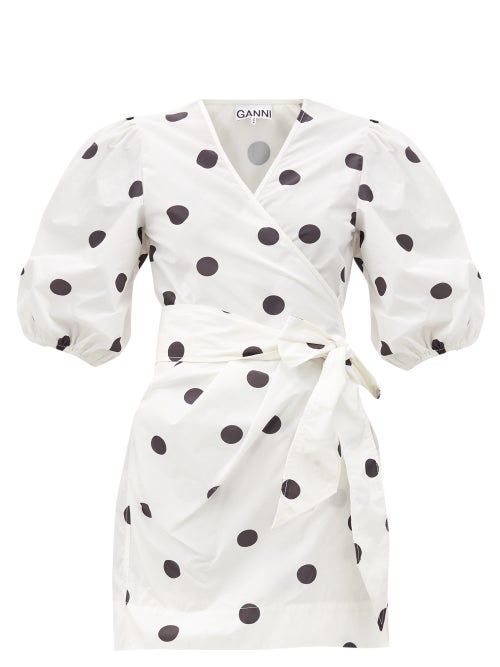 Ganni Puff-sleeved Polka-dot Recycled Polyester Dress In White