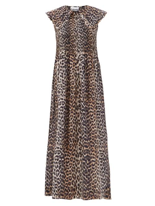 Ganni Leopard-print Cotton And Silk Midi Dress In Brown