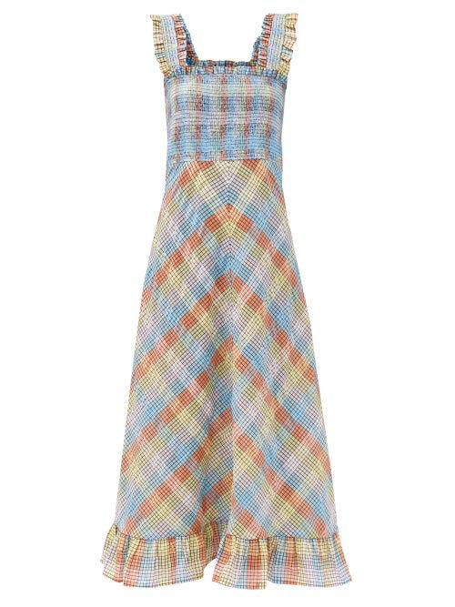 Ganni Ruffled Smocked Checked Cotton-blend Seersucker Midi Dress In Light Blue