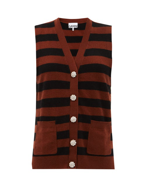 Ganni Crystal-button Cashmere Sleeveless Sweater In Black