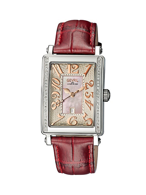 Gevril Mezzo Rectangle Stainless Steel Diamond Leather Strap Watch