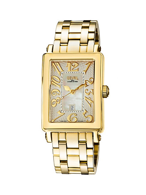Gevril Women's Mezzo Rectangle Goldtone Stainless Steel Diamond Watch