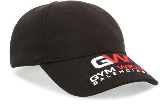 Balenciaga Logo Gym Embroidery Cotton Baseball Cap In Black
