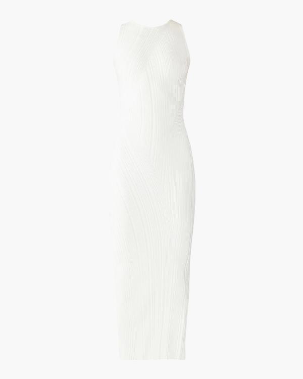 Herve Leger Rib-knit Sleeveless Turtleneck Dress In Alabaster