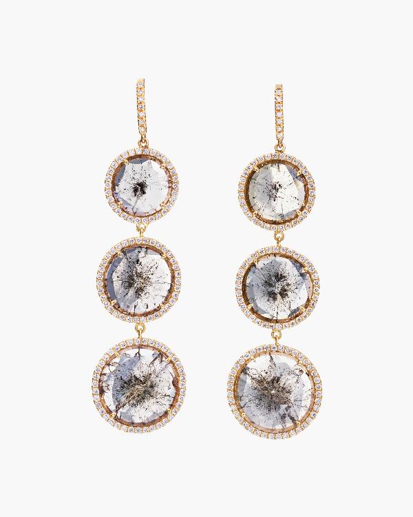 Nina Runsdorf Triple Drop Diamonds Earrings | Diamonds/yellow Gold In Gray
