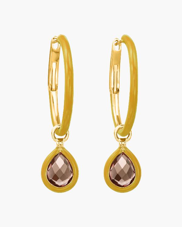 Nina Runsdorf Topaz Flip Charm Hoop Earrings   Enamel/gemstones/yellow Gold